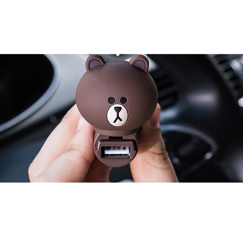 USB Car Charging Device (Line Friends – Brown) Preview 1